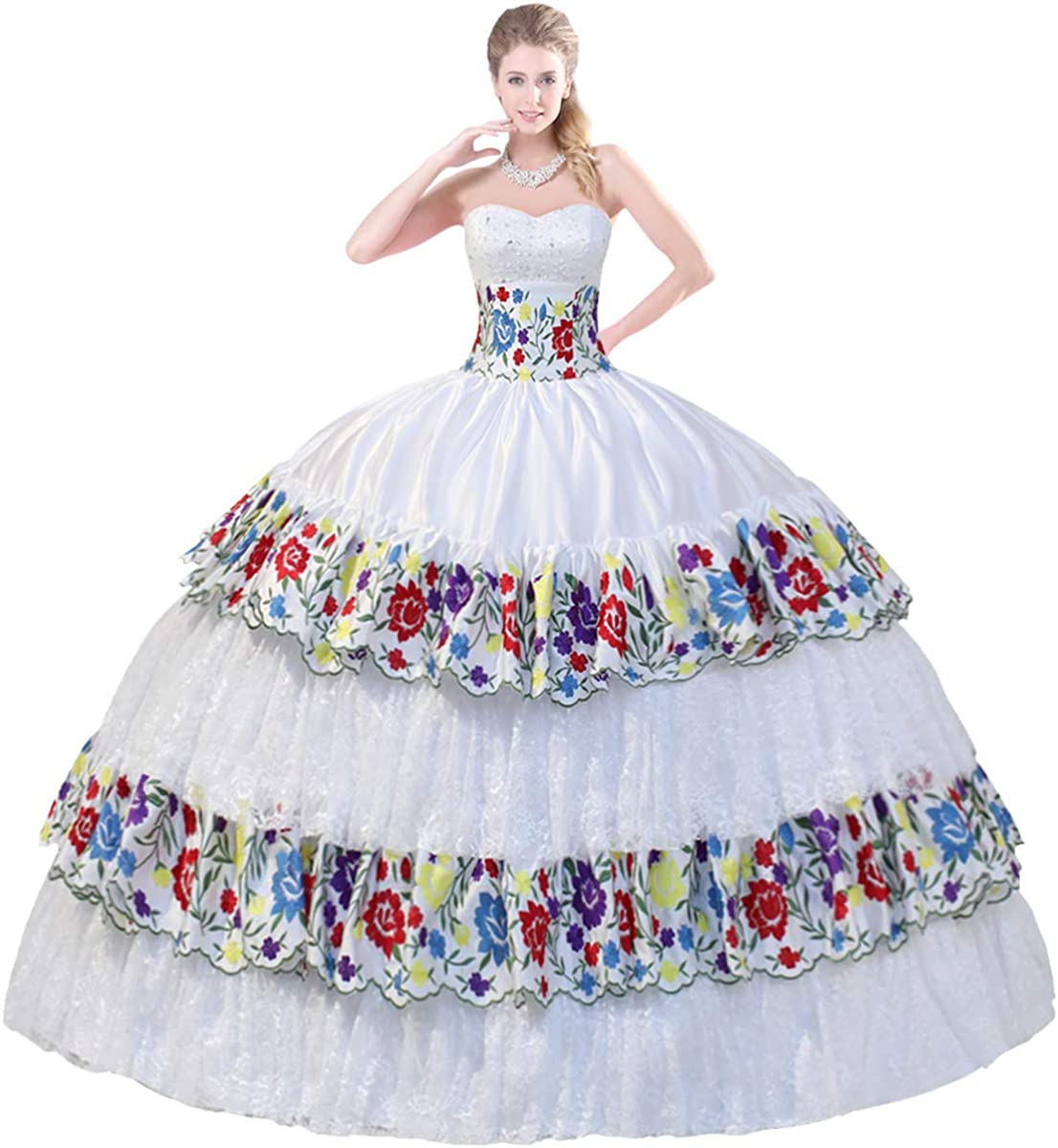 Princess Western Cowgirl Mexico Charro Embroidery Quinceanera Ball Gown with Lace