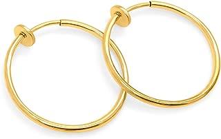 Gold-Tone Plated Brass Spring Hoops Earrings Clip On, Hoops for Women, Unpierced
