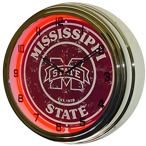 Mississippi State University Logo Sign Neon Lighted Wall Clock Chrome Red