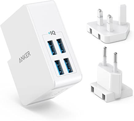 Anker USB Plug Charger 5.4A/27W 4-Port USB Charger, PowerPort 4 Lite with Interchangeable UK and EU Travel Charger, Adapter for iPhone XS/XS Max/XR/X/8, Galaxy S8/Note 3, iPad Air 2/mini 3, and More