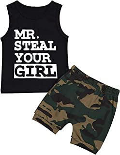 Infant Toddler Baby Boy Clothes Mr Steal Your Girl Vest +Camouflage Shorts Summer Outfit Set