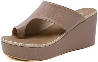 Women's Wedge Slippers, Leather Raised Open Toe Breathable Slippers, Summer Comfortable Lightweight Sandals,Apricot,38