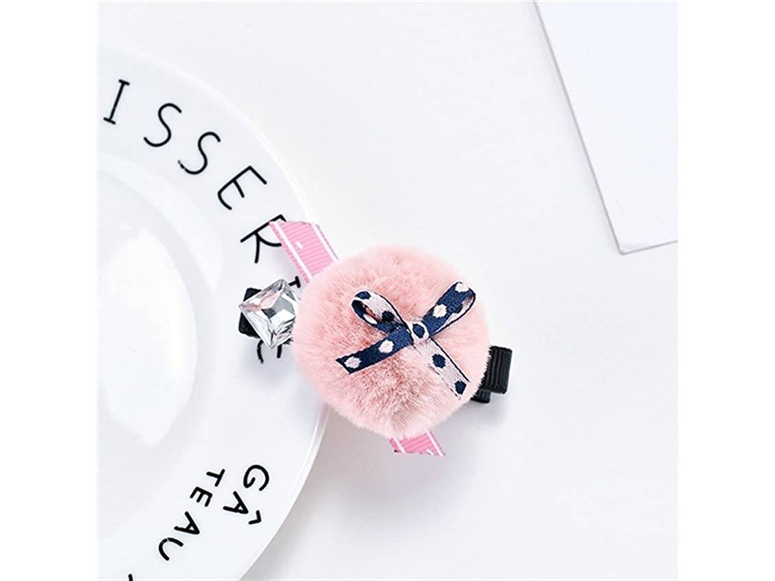限定遠近法朝Osize 美しいスタイル ヘアボウボウヘアクリップバングヘアピンヘアアクセサリーダックビルクリップ(ピンク)