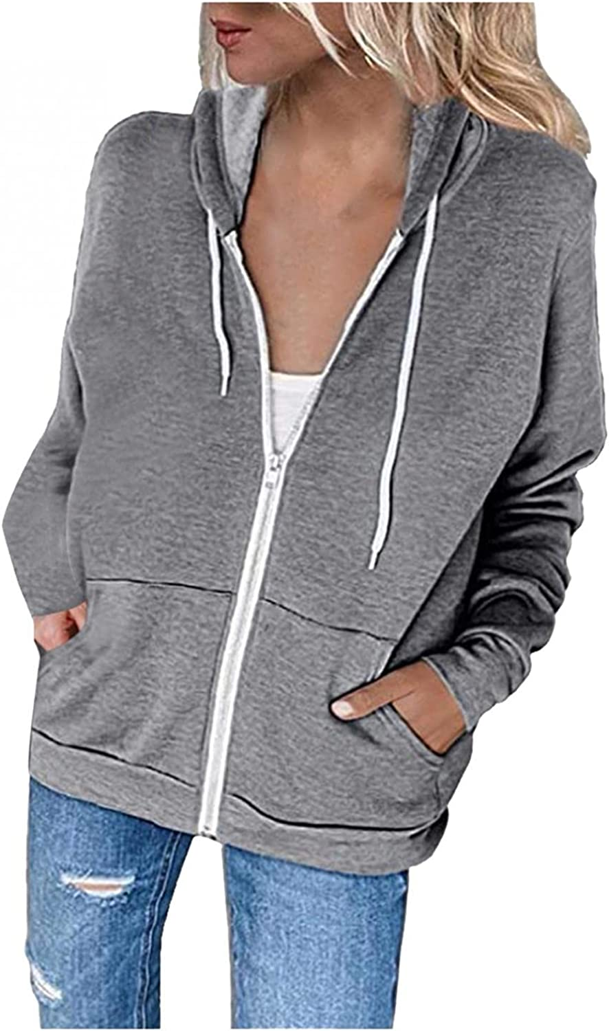 ORT Graphic Hoodies for Womens Zip Up Hoodie Plus Size Long Sleeve Striped Pullover Sweatshirt Casual Tunic Coat with Pockets