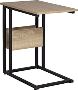 WOLTU TS79hei Table Bout de canapé Table Basse à thé en métal et MDF, 55x36x59,5cm Chêne Clair