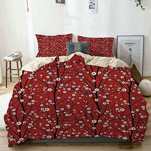 Zozun Duvet Cover Set Beige,Cherry Blossom Tree Branches Beauty Japanese Traditional Folk Eastern Petals, Decorative 3 Piece Bedding Set with 2 Pillow Shams
