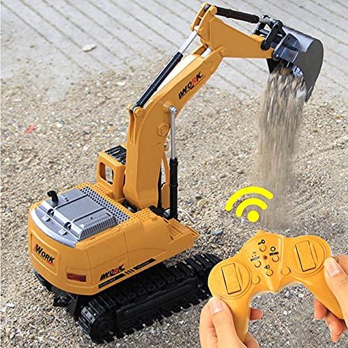 Ycco Excavadora RC de 8 canales, 1/14 2.4Ghz Control remoto Tractor Carga de automóvil Modelo de excavadora móvil Vehículos de construcción de juguete Excavadora de arena Adultos Niños Juguete de rega