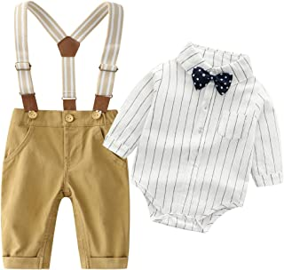 Baby Boys Gentleman Outfits Suits, Infant Long Sleeve Shirt+Bib Pants+Bow Tie Overalls Clothes Set