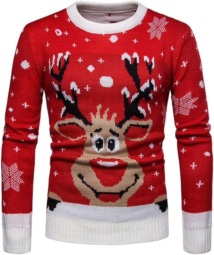 Mens Sweatshirt Casual Christmas Cute Round Neck Knit Top
