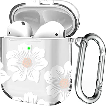 Maxjoy Case for Airpods, Airpods Protective Cover, Hard PC Clear Skin Kit for Girls Men Women Compatible with Airpods 2 & 1 Charging Case with Carabiner [Front LED Visible], Morning Glory