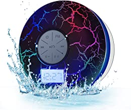 Wireless Bluetooth Shower Speakers   KGG IPX7 Waterproof Portable Bluetooth Speakers   FM Shower Radio with Suction Cup,Cool Cracking Backlight   USB Rechargeable Outdoor Bluetooth Speaker