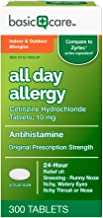 Basic Care All Day Allergy Cetirizine Hcl Tablets, 10 mg, 300 Count