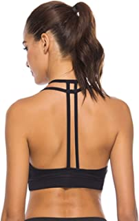U Sports Bras for Women Strappy Removable Padded Sports Racerback Yoga Tops  Activewear for cae8e2472