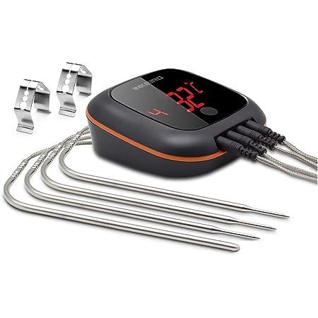 IBT-4XS+4 Sonda Inkbird IBT-4XS Bluetooth Barbecue Forno Termometro con Base Magnetica & Schermo di Lettura Rotativo per Barbecue, Cucina, Barbecue, Forno, Carne (IBT-4XS + 4 Sonda di Temperatura)