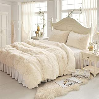 MooWoo 4 PCS Faux Fur Bedding Set, 1 Soft Plush Shaggy Duvet Cover + 1 Flannel Bed Sheet Skirt + 2 Fluffy Furry Sherpa Pillowcases, Luxury Cozy Decorative Home Bedroom, Zipper (Cream White, Queen)