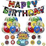 Set de Kit de Decoraciones de Cumpleaños de Superhéroes, Globos de Superheroes, Superhéroe Feliz Cumpleaños Del Pancarta, Adecuado para Fiestas de Cumpleaños, Baby Showers