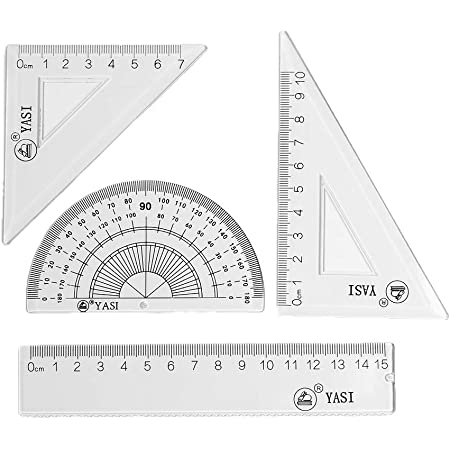 Suitable for School Student Teacher Drawing Right Angle Triangle Protractor classic black Acrylic Geometry Set Math Tools 4-Piece Set with Frosted Storage Box Isosceles Triangle Ruler