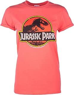 TruffleShuffle Womens Coral Jurassic Park Logo Boyfriend T Shirt - 90s Movie Tees
