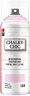 Marabu 02630018134 - Chalky Chic Spray, deckende, matte Kreidesprühfarbe auf Wasserbasis, für samtweiche Oberfläche auf Holz, Metall und Kunststoff, Used Look durch Anschleifen, 400 ml, puderrosa