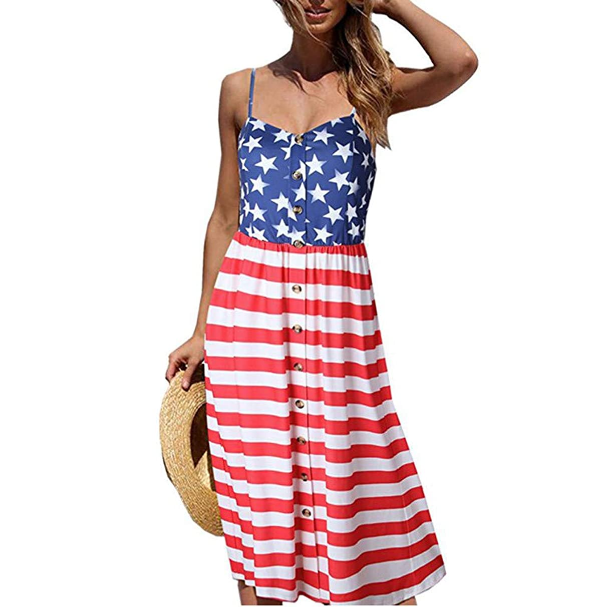 GJK-SION Women's Clothes 4th of July Patriotic American Flag Print Fashion Ladies Camisole Beach Party Long Dresses