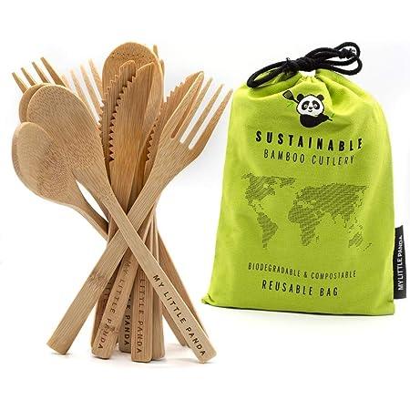 My Little Panda Cubiertos de bambú Reutilizables y súper ...