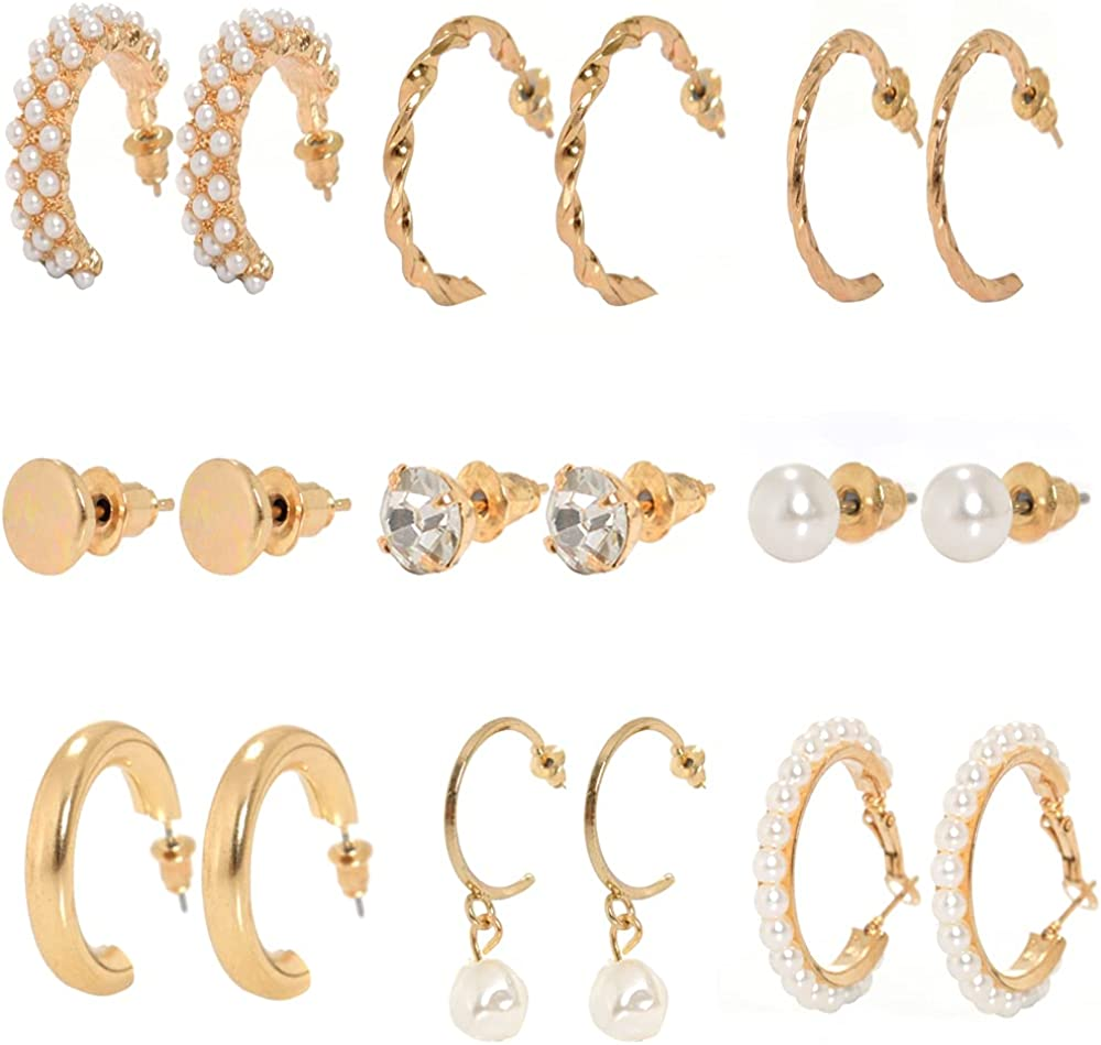 Gold Hoop Chunky Earrings Set - 9/6/5Pairs Hypoallergenic Cartilage Pearls Earrings Set - Thin/Thick/ Twist Hoop Earrings Jewelry for Women
