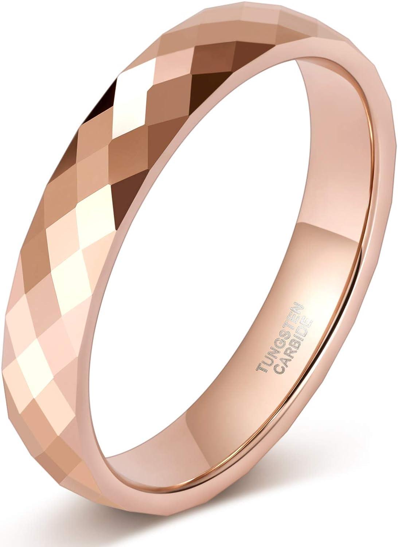 TRUMIUM 4MM Multi-Faceted Tungsten Wedding Rings latest Gold Black Rose shipfree