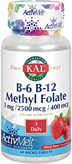 KAL B-6/B-12 Methyl Folate Activmelt, Mixed Berry, White, 60 Count