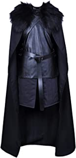 ALIZIWAY Jon Snow Cosplay Costume with Coat Black Cape Cloak Halloween Knights Watch Outfit for Men