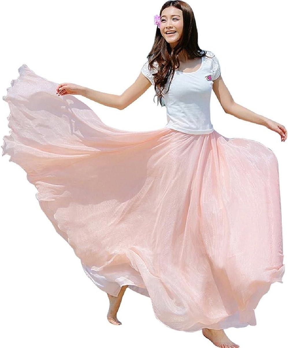 TONSEE Women Full/Ankle Length Elastic Pleated Beach Maxi Chiffon Long Skirt