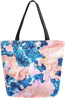 Mnsruu Mnsruu Einkaufstasche aus Segeltuch, wiederverwendbar, Schulter-/Handtasche, Pink/Blau, Marmor, für Reisen, für Damen und Mädchen
