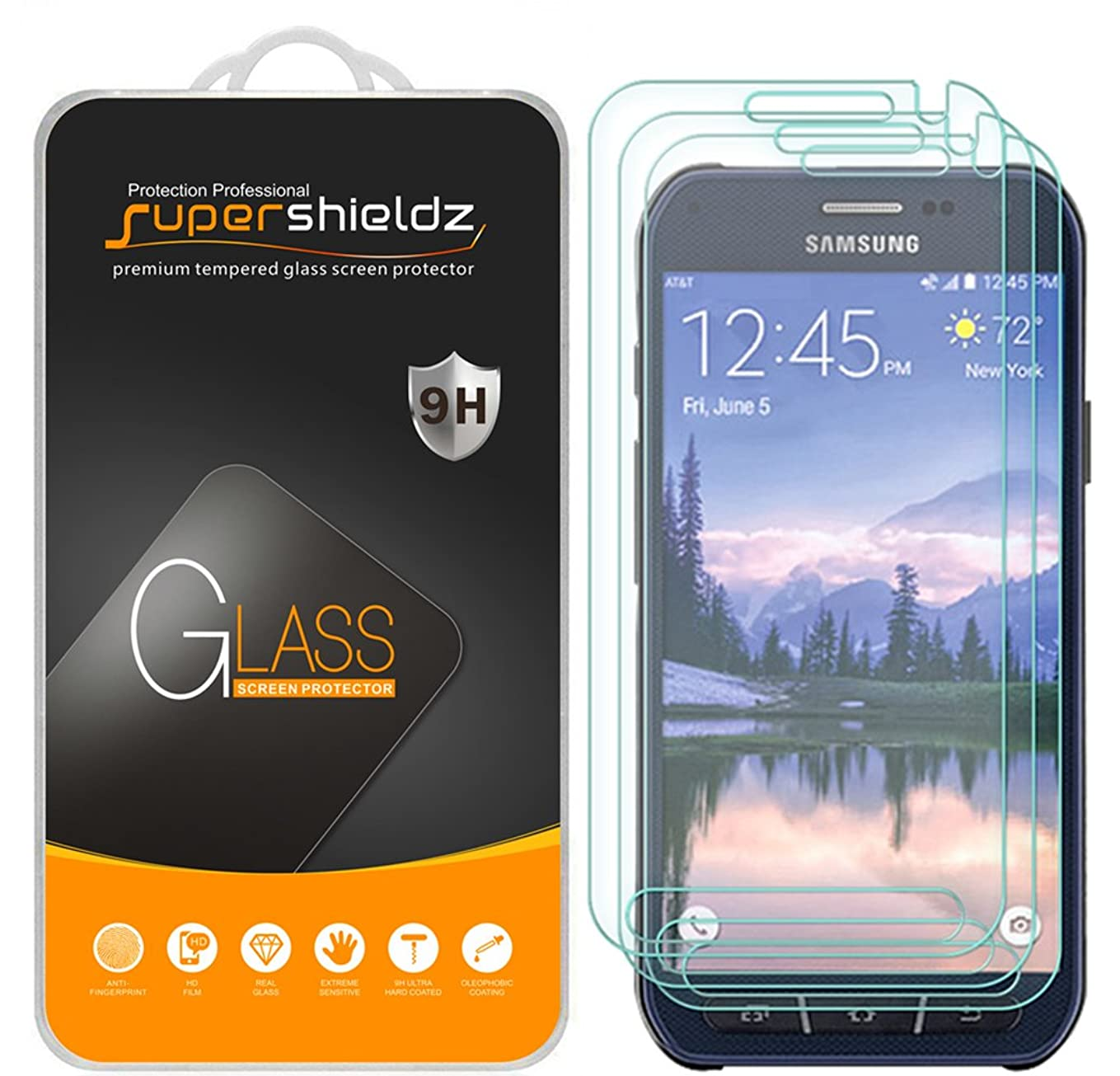 [3-Pack] Supershieldz for Samsung (Galaxy S6 Active) [Not Fit for Galaxy S6 Model] Tempered Glass Screen Protector, Anti-Scratch, Anti-Fingerprint, Bubble Free, Lifetime Replacement tj6400340232174