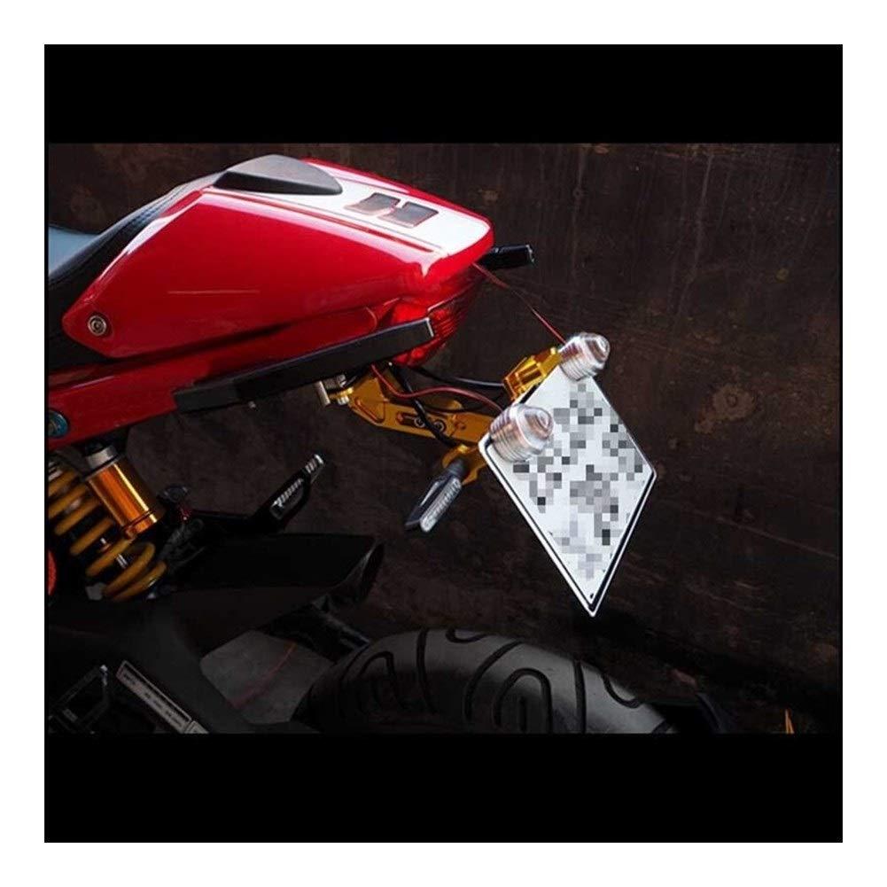 Qiilu Motorcycle License Plate Frame Adjustable Aluminum Number Holder Bracket with Light Red