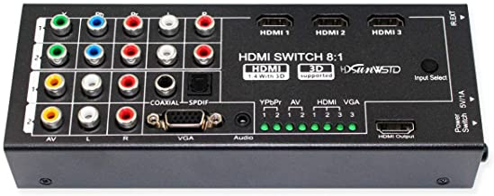 Multi-Functional HDMI Converter with 8 Inputs (VGA + AV + Ypbpr Component + HDMI) to One HDMI Output,COAXIAL Output,SPDIF ...