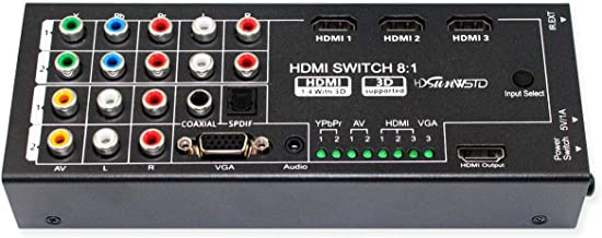 Multi-Functional HDMI Converter with 8 Inputs (VGA + AV + Ypbpr Component + HDMI) to One HDMI Output,COAXIAL Output,SPDIF Output Supports HDMI v1.4 3D