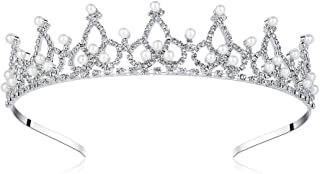 Lovely Shop Royal Pearl Rhinestone Tiara with No Comb for Wedding Bridal Prom Birthday Pegeant Prinecess Crown