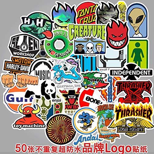 DSSJ 50 Various Brands Logo Tide Brand Sticker Suitcase Motorcycle Lever Box Notebook Waterproof Sticker