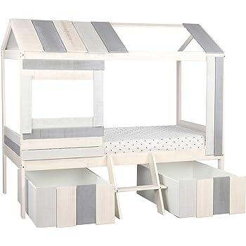 Homestyle4u 1954, Kinderbett Tipi Zelt 90x200, Hausbett mit