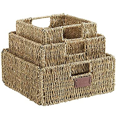VonHaus Set of 3 Square Seagrass Storage Baskets with Insert Handles Ideal for Bathroom and Home Organization