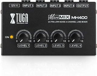 XTUGA Mezclador de sonido MH400 ultra compacto de bajo ruido 4 canales, mini mezclador de audio con adaptador de CA, uso p...