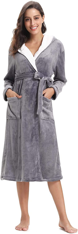Abollria Albornoz Unisex Oto/ño Invierno Unisex Coral Fleece Mujer Batas Fashion Elegantes Vintage C/ómodo Kimono Manga Larga con Bolsillos Camis/ón