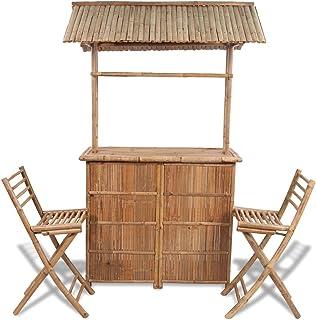 Festnight Set Barra de Bar de Bambú con 2 Sillas