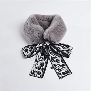 SHENTIANWEI Autumn and Winter New Female Korean Version of The Ribbon Scarf Scarlet Rabbit Plush Small Scarf Fashion Warm Imitation Fur Collar (Color : Grey)