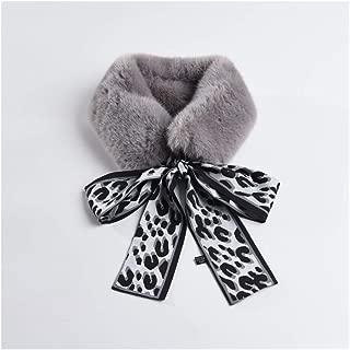 HongJie Hou Autumn and Winter New Female Korean Version of The Ribbon Scarf Scarlet Rabbit Plush Small Scarf Fashion Warm Imitation Fur Collar (Color : Grey)
