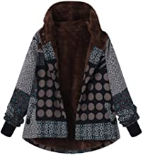 Lazzboy Women Coat Jacket Ethnic Boho Print Warm Flannel