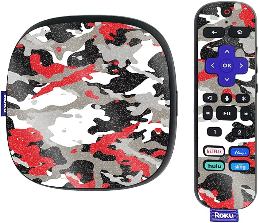 MightySkins Glossy Glitter Skin Compatible with Roku Ultra HDR 4K Streaming Media Player (2020) - Red Camo   Protective, Durable High-Gloss Glitter Finish   Easy to Apply   Made in The USA