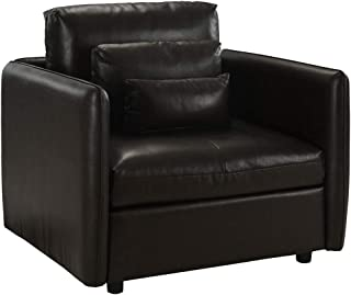 Classic Club Style Living Room Armchair, PU Leather Accent Chair (Dark Brown)