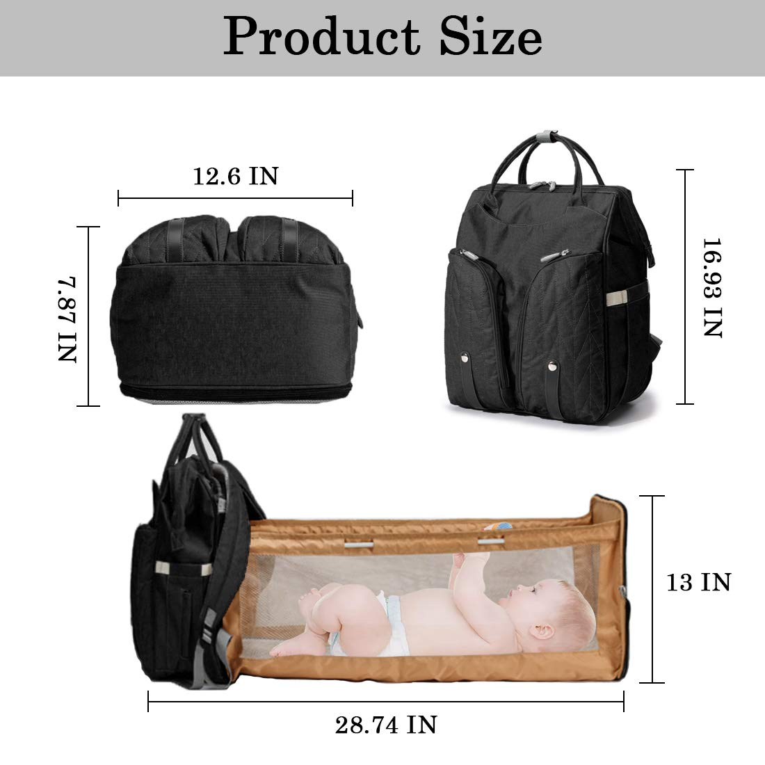 Diaper Bag Backpack Multi-Functional Travel Back Pack Travel Bassinet Foldable Baby Bed Nappy Bags Waterproof Mummy Bag Maternity Baby Changing Bags (Grey1)