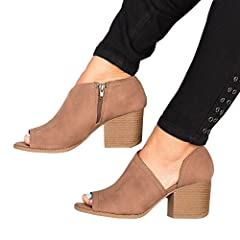 25d1d4ca77fd Women Low Heel Ankle Booties Slip On Vegan Suede Leather Cut .
