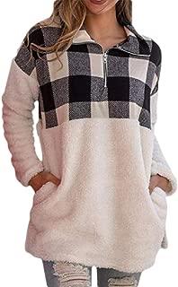 Womens Plaid Fluffy Fleece Zip Up Sweatshirt Pullover Winter Sweater Blouse Coat Outwear